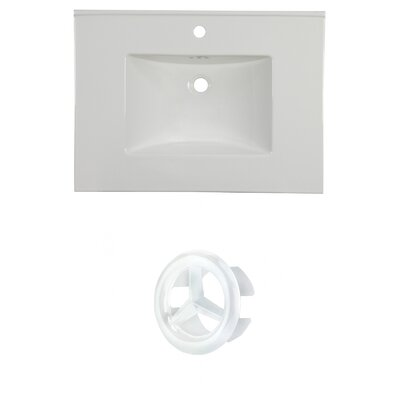 31 Single Bathroom Vanity Top Faucet Mount: Single, Overflow Cap Color: White
