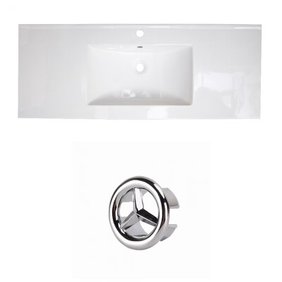Ceramic 40 Single Bathroom Vanity Top Faucet Mount: Single, Overflow Cap Color: Chrome