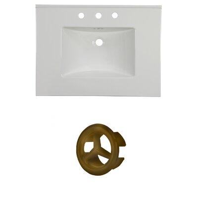 31 Single Bathroom Vanity Top Faucet Mount: 8 Centers, Overflow Cap Color: Antique Brass