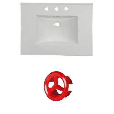 31 Single Bathroom Vanity Top Faucet Mount: 8 Centers, Overflow Cap Color: Red