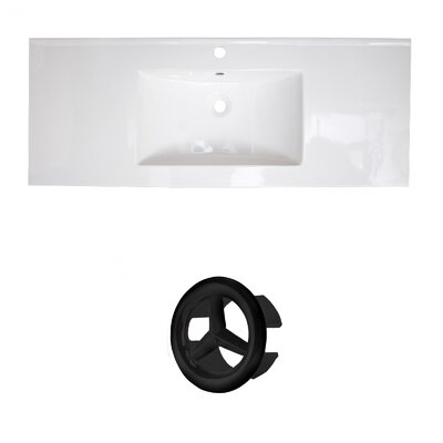 Ceramic 40 Single Bathroom Vanity Top Faucet Mount: Single, Overflow Cap Color: Black