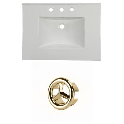 31 Single Bathroom Vanity Top Faucet Mount: 8 Centers, Overflow Cap Color: Gold