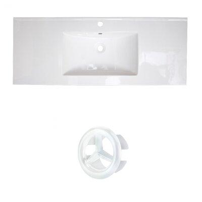 Ceramic 40 Single Bathroom Vanity Top Faucet Mount: Single, Overflow Cap Color: White