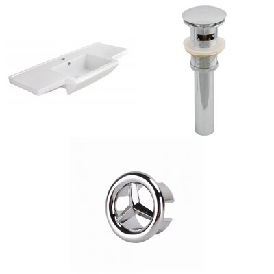 Prelude Ceramic 40 Single Bathroom Vanity Top Faucet Mount: Single, Drain Color: Chrome