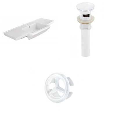 Prelude Ceramic 40 Single Bathroom Vanity Top Faucet Mount: Single, Drain Color: White