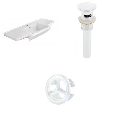 Prelude Ceramic 40 Single Bathroom Vanity Top Faucet Mount: Single, Drain Color: White