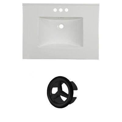 31 Single Bathroom Vanity Top Faucet Mount: 4 Centers, Overflow Cap Color: Black