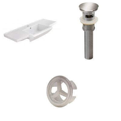 Prelude Ceramic 40 Single Bathroom Vanity Top Faucet Mount: Single, Drain Color: Brushed Nickel