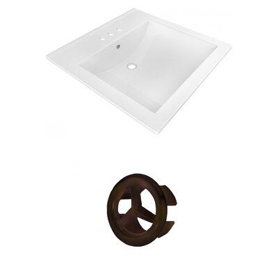 Ceramic 22 Single Bathroom Vanity Top Faucet Mount: 4 Centers, Overflow Cap Color: Oil Rubbed Bronze