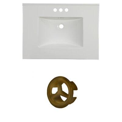 31 Single Bathroom Vanity Top Faucet Mount: 4 Centers, Overflow Cap Color: Antique Brass