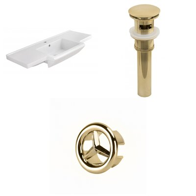 Prelude Ceramic 40 Single Bathroom Vanity Top Faucet Mount: Single, Drain Color: Gold