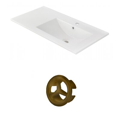Drake 36 Single Bathroom Vanity Top Faucet Mount: Single, Overflow Cap Color: Antique Brass