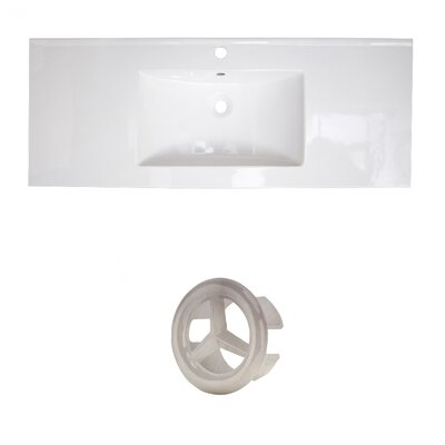 Ceramic 40 Single Bathroom Vanity Top Faucet Mount: Single, Overflow Cap Color: Brushed Nickel