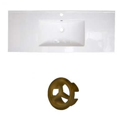 Ceramic 40 Single Bathroom Vanity Top Faucet Mount: Single, Overflow Cap Color: Antique Brass