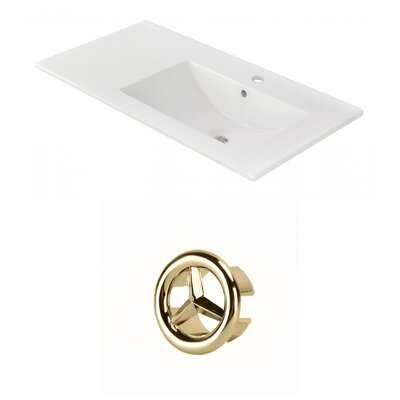 Drake 36 Single Bathroom Vanity Top Faucet Mount: Single, Overflow Cap Color: Gold