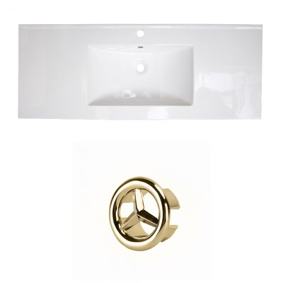 Ceramic 40 Single Bathroom Vanity Top Faucet Mount: Single, Overflow Cap Color: Gold