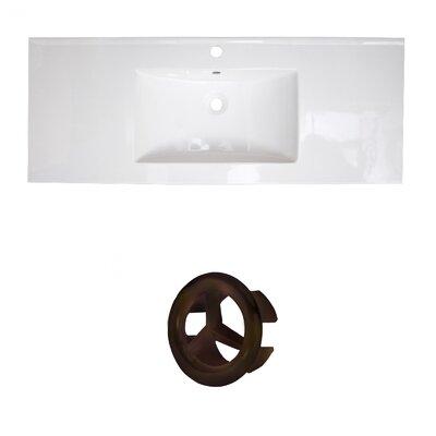Ceramic 40 Single Bathroom Vanity Top Faucet Mount: Single, Overflow Cap Color: Oil Rubbed Bronze