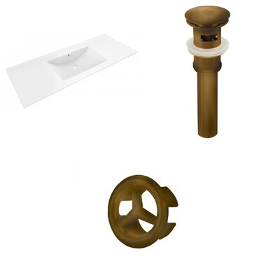 Alum Ceramic 48 Single Bathroom Vanity Top Faucet Mount: Single, Drain Color: Antique Brass