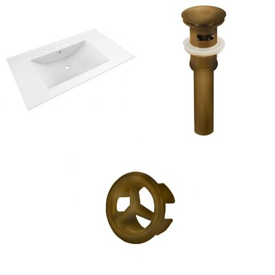 Drake 36 Single Bathroom Vanity Top Faucet Mount: 8 Centers, Drain Color: Antique Brass, Overflow Cap Color: Antique Brass