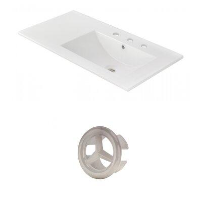 Drake 36 Single Bathroom Vanity Top Faucet Mount: 8 Centers, Overflow Cap Color: Brushed Nickel