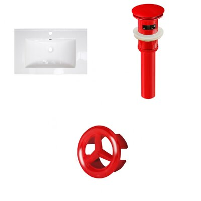 Roxy Ceramic 24 Single Bathroom Vanity Top Faucet Mount: Single, Overflow Cap Color: Red
