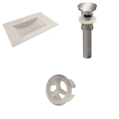 Drake 36 Single Bathroom Vanity Top Faucet Mount: Single, Drain Color: Brushed Nickel, Overflow Cap Color: Brushed Nickel