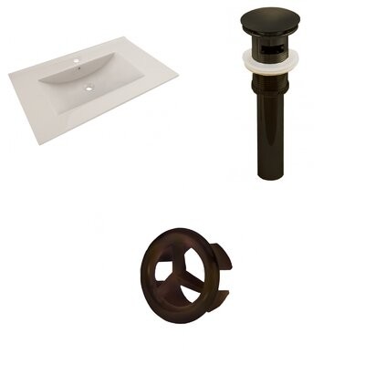 Drake 36 Single Bathroom Vanity Top Faucet Mount: Single, Drain Color: Oil Rubbed Bronze, Overflow Cap Color: Oil Rubbed Bronze
