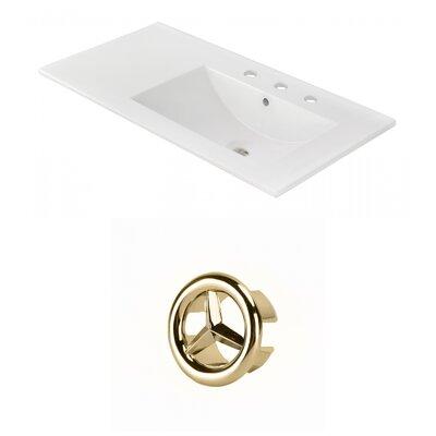 Drake 36 Single Bathroom Vanity Top Faucet Mount: 8 Centers, Overflow Cap Color: Gold