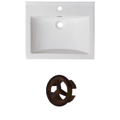 Vee Ceramic 21 Single Bathroom Vanity Top Faucet Mount: Single, Overflow Color: Oil Rubbed Bronze