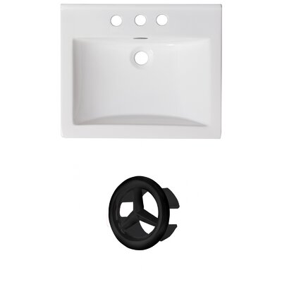 Vee Ceramic 21 Single Bathroom Vanity Top Faucet Mount: 8 Centers, Overflow Color: Black