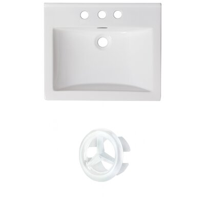 Vee Ceramic 21 Single Bathroom Vanity Top Faucet Mount: 4 Centers, Overflow Color: White