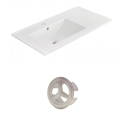 Drake 36 Single Bathroom Vanity Top Faucet Mount: Single, Overflow Cap Color: Brushed Nickel