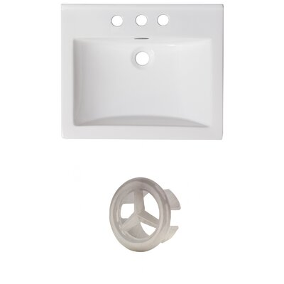 Vee Ceramic 21 Single Bathroom Vanity Top Faucet Mount: 4 Centers, Overflow Color: Brushed Nickel