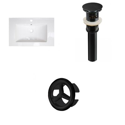 Roxy Ceramic 24 Single Bathroom Vanity Top Faucet Mount: Single, Overflow Cap Color: Black