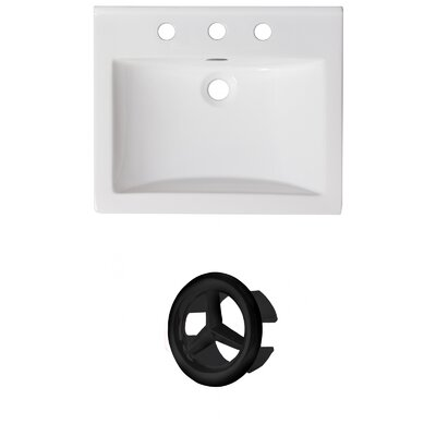 Vee Ceramic 21 Single Bathroom Vanity Top Faucet Mount: 4 Centers, Overflow Color: Black