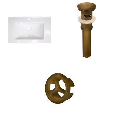 Roxy Ceramic 24 Single Bathroom Vanity Top Faucet Mount: Single, Overflow Cap Color: Antique Brass