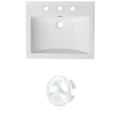 Vee Ceramic 21 Single Bathroom Vanity Top Faucet Mount: 8 Centers, Overflow Color: White