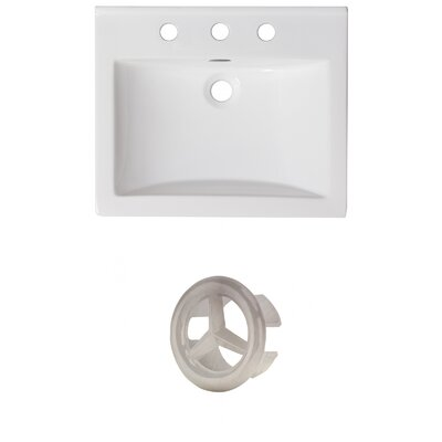 Vee Ceramic 21 Single Bathroom Vanity Top Faucet Mount: 8 Centers, Overflow Color: Brushed Nickel