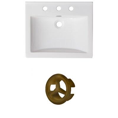 Vee Ceramic 21 Single Bathroom Vanity Top Faucet Mount: 8 Centers, Overflow Color: Antique Brass