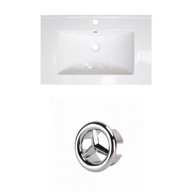 Ceramic 25 Single Bathroom Vanity Top Faucet Mount: Single, Overflow Cap Color: Chrome
