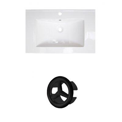 Ceramic 25 Single Bathroom Vanity Top Faucet Mount: Single, Overflow Cap Color: Black