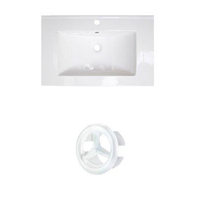 Ceramic 25 Single Bathroom Vanity Top Faucet Mount: Single, Overflow Cap Color: White