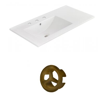 Drake 36 Single Bathroom Vanity Top Faucet Mount: 8 Centers, Overflow Cap Color: Antique Brass