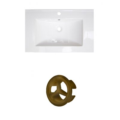 Ceramic 25 Single Bathroom Vanity Top Faucet Mount: Single, Overflow Cap Color: Antique Brass