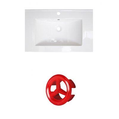 Ceramic 25 Single Bathroom Vanity Top Faucet Mount: Single, Overflow Cap Color: Red