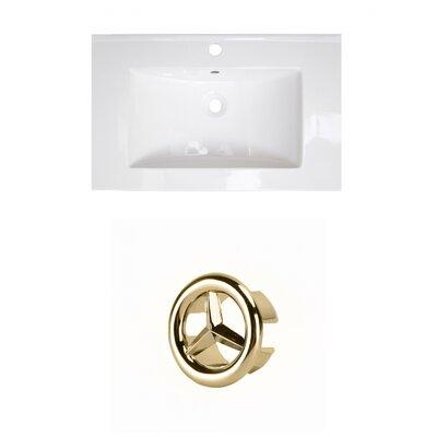 Ceramic 25 Single Bathroom Vanity Top Faucet Mount: Single, Overflow Cap Color: Gold