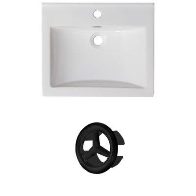 Vee Ceramic 21 Single Bathroom Vanity Top Faucet Mount: Single, Overflow Color: Black