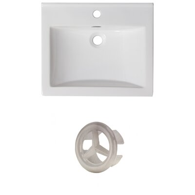 Vee Ceramic 21 Single Bathroom Vanity Top Faucet Mount: Single, Overflow Color: Brushed Nickel