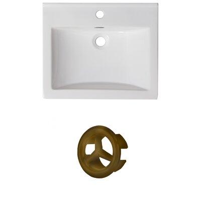 Vee Ceramic 21 Single Bathroom Vanity Top Faucet Mount: Single, Overflow Color: Antique Brass