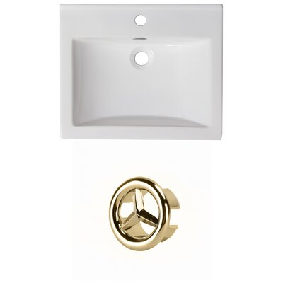 Vee Ceramic 21 Single Bathroom Vanity Top Faucet Mount: Single, Overflow Color: Gold